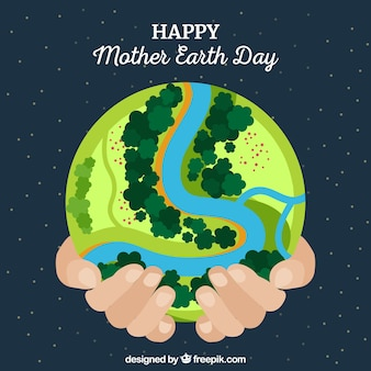 Happy mother earth day background in flat design
