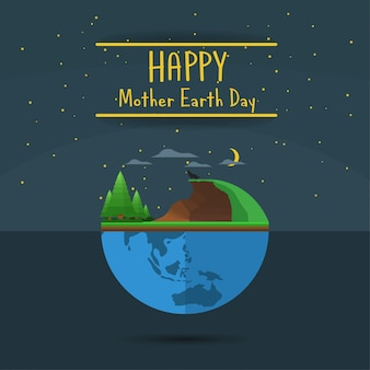 Happy mother earth day banner night version