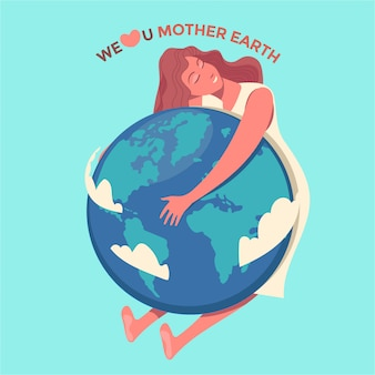 Happy mother earth day greeting card concept