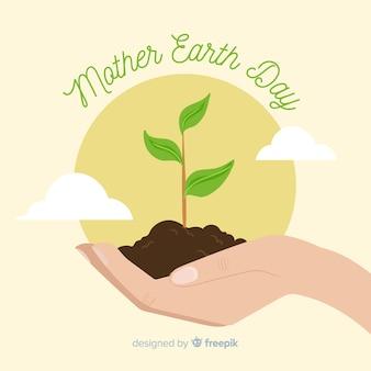 Fondo disegnato a mano di giorno felice di terra di madre