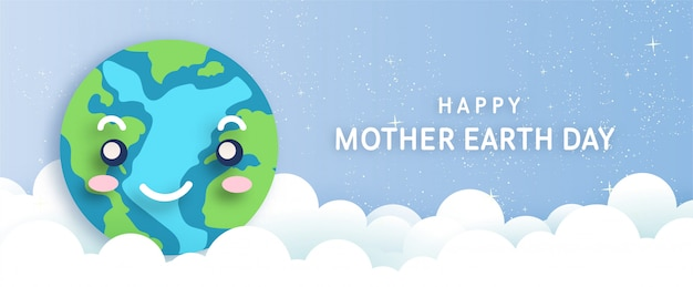 Happy mother earth day in paper cut style .