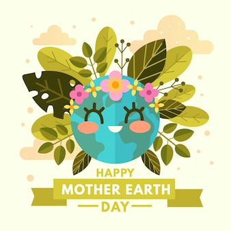 Happy mother earth day with cute planet