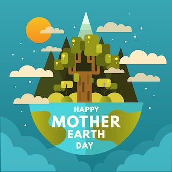 Счастливый день матери-земли с деревом и облаками
