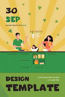 Happy mother, father and daughter cooking together isolated flat flyer template