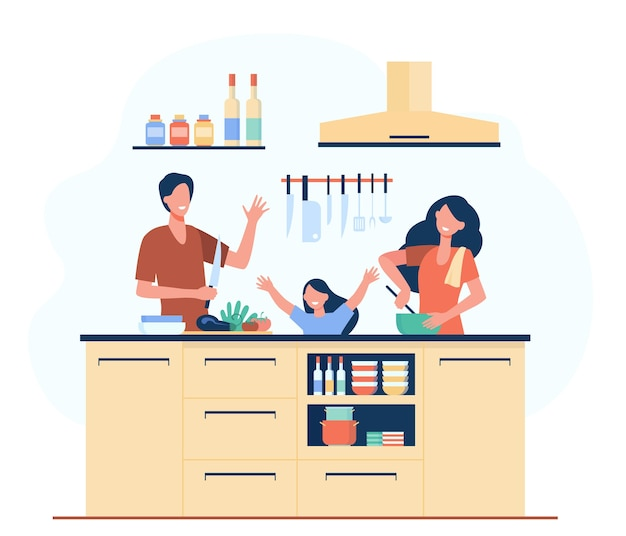 Happy mother, father and daughter cooking together isolated flat illustration.