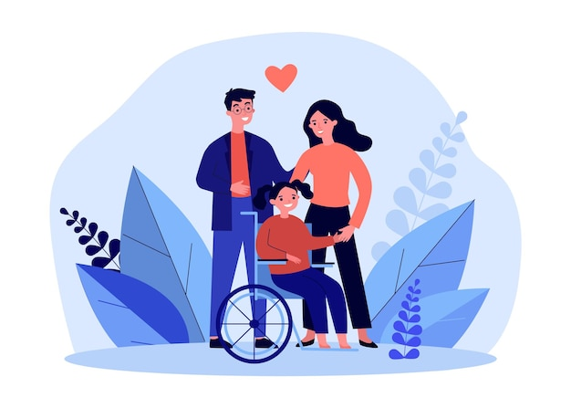 Happy mother and father with daughter on wheelchair. man and woman with disabled girl flat vector illustration. family, disability concept for banner, website design or landing web page