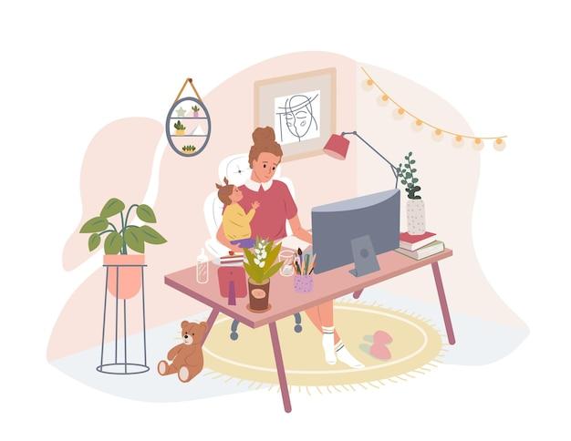 행복 한 어머니 지주 아기 책상에 앉아 집에서 컴퓨터에서 작업