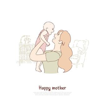 生まれたばかりの子供を抱いて幸せな母