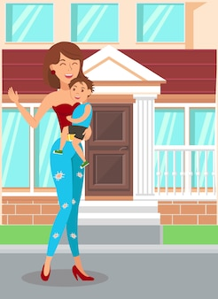 Happy mother holding son flat  illustration
