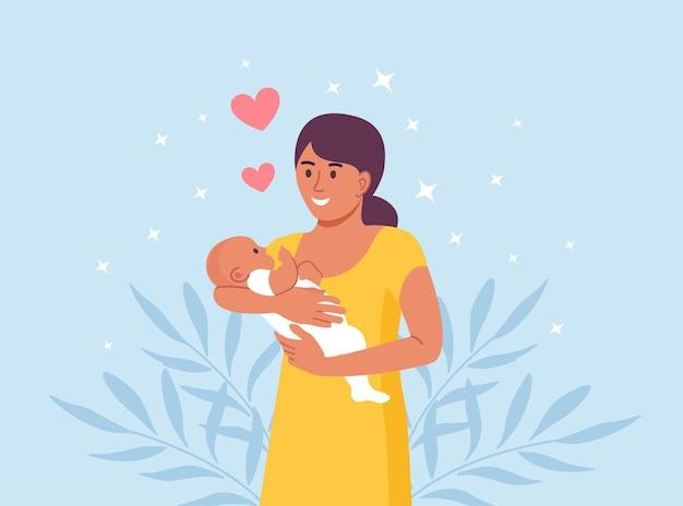 행복한 어머니는 어린 아기를 팔에 안고 있습니다. 모성애와 아이들에 대한 관심. 손에 신생아와 여자