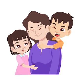 Счастливая мать обнимает своих детей