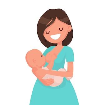 幸せな母親は赤ちゃんを母乳で育てています。フラットスタイルで