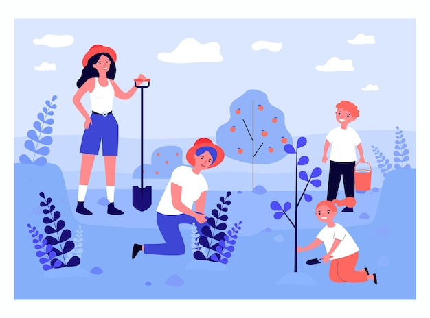 Happy mother and kids planting trees flat vector illustration. woman standing with shovel, boy holding watering pot. family, garden, ecology concept for banner, website design or landing web page