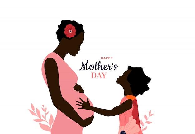 해피 어머니의 날. 아프리카 계 미국인 엄마가 딸을 안아줍니다. 어머니는 아이를 보유하고 있습니다.