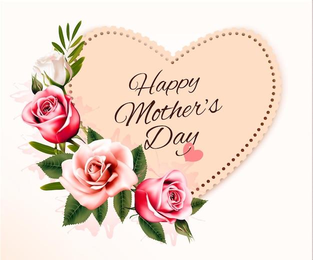 ハート型のカードと色とりどりの花で幸せな母の日の背景。ベクター。