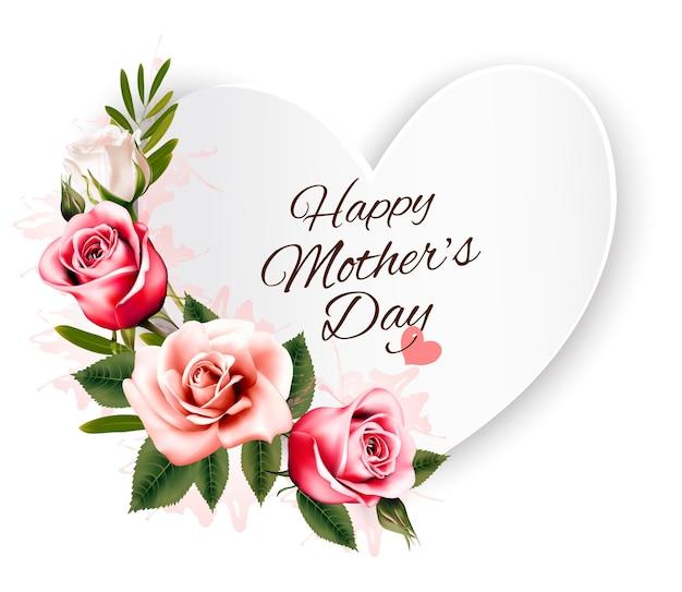 ハート型のカードとカラフルなバラで幸せな母の日の背景。ベクター。