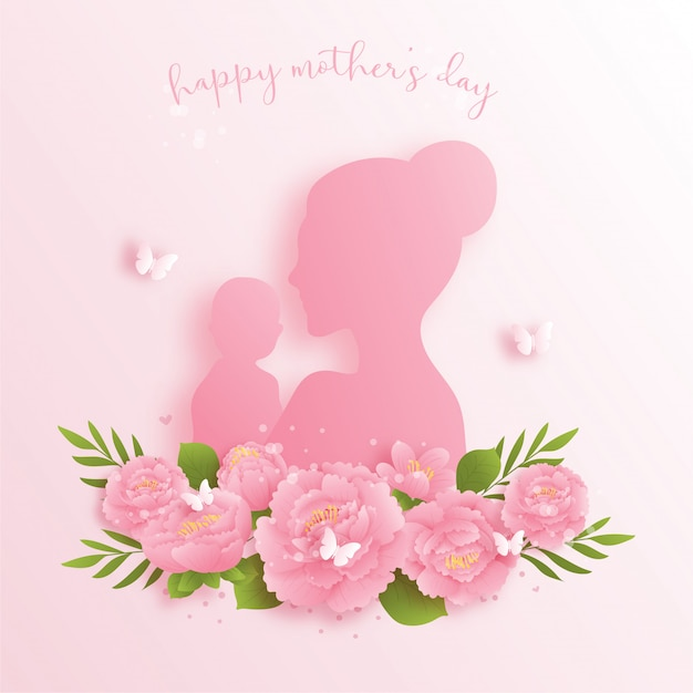 Happy mother's day background with colorful flowers and butterflies. paper cut
