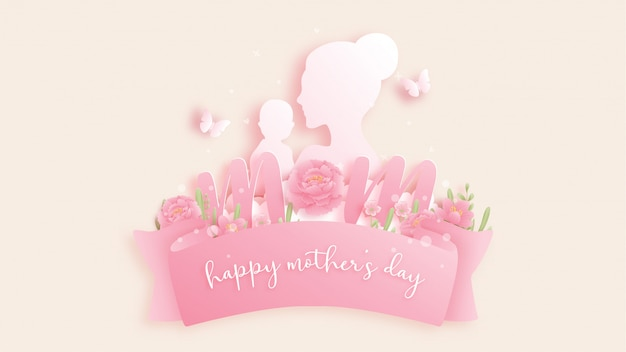 Happy mother's day background with colorful flowers and butterflies.