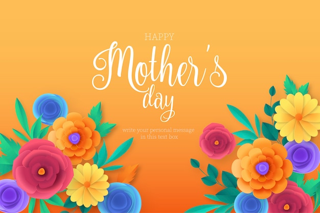 Happy mother's day background with colorful flowers