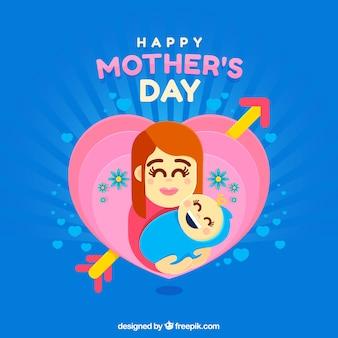 Счастливый день матери с семьей