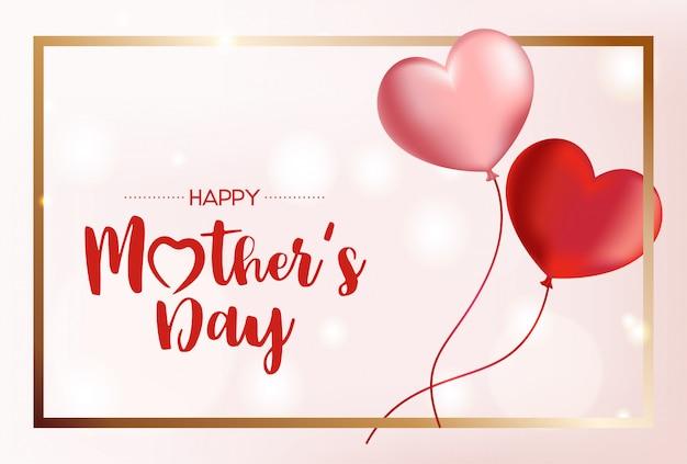 Счастливый день матери фон с летающими шарами. иллюстрация