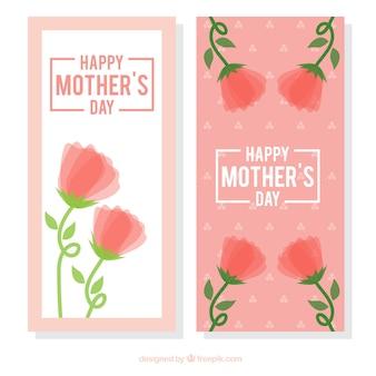 꽃과 함께 해피 어머니의 날 배너