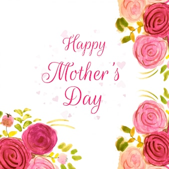 Happy mother's day beautiful design with watercolor flowers