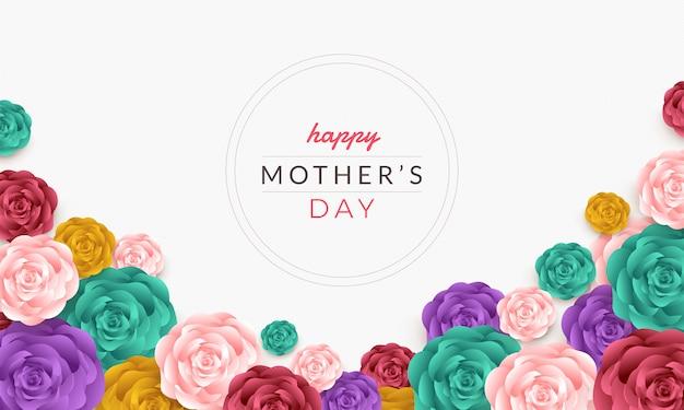 バラと幸せな母の日カードレイアウトデザイン