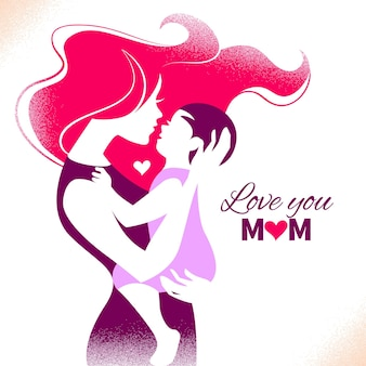 Happy mother's day. card with beautiful silhouette of mother and baby