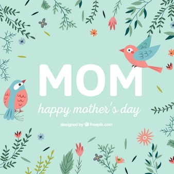 Happy mother's day card with flowers and birds