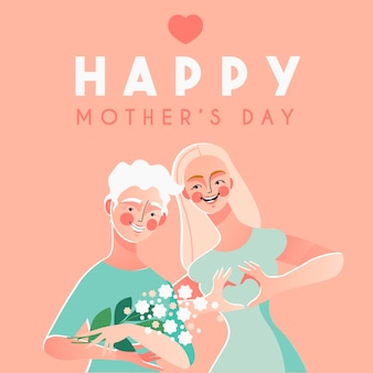 Happy mother's day card with happy woman and her mother