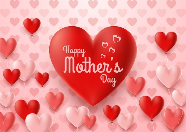 Happy mother's day card with hearts balloon background