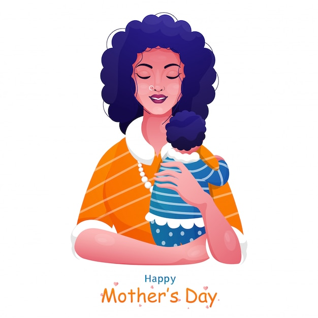 Happy mother's day celebration poster design with mother holding a her baby on white