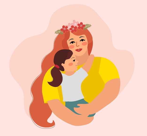 Happy mother's day. child daughter and mom hug.