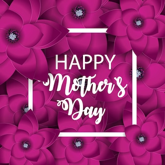 Happy mother s day cute greeting card with flowers.