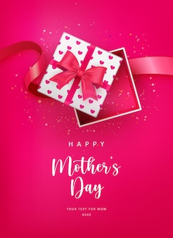 Happy mother's day cute red love heart pattern opened gift box and ribbon