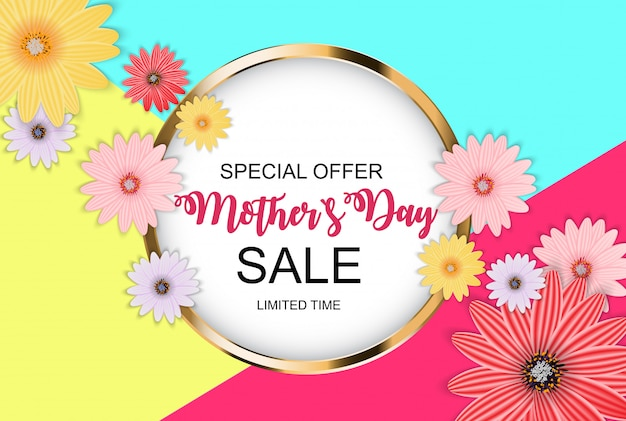 Happy mother`s day cute sale background with flowers