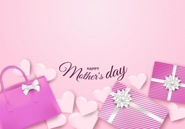 Happy mother's day. design with gift box, bag and heart