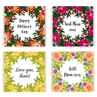 Happy mother's day. floral gift cards with lettering on