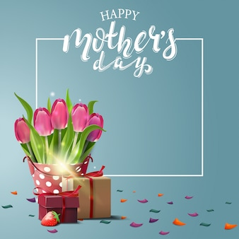 Happy mother's day greeting blue card