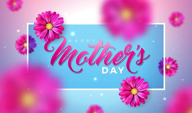 Happy mother's day greeting card design with falling flower and typography letter