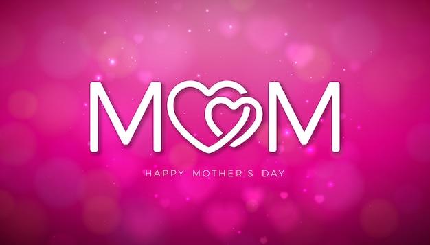 빛나는 분홍색 배경에 떨어지는 마음과 타이 포 그래피 문자로 해피 어머니의 날 인사말 카드 디자인.