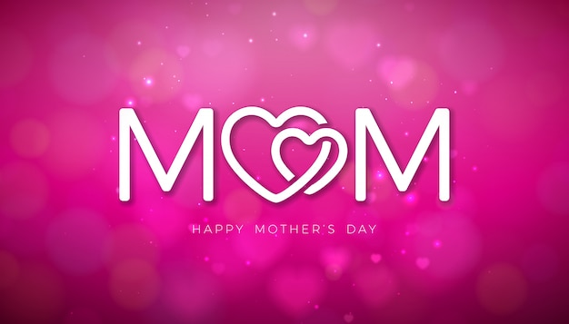 Happy mother's day greeting card design with falling hearts and typography letter on shiny pink background.