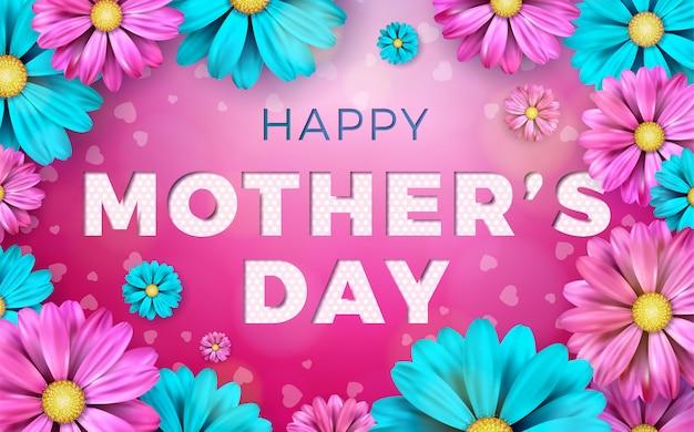 Счастливый день матери поздравительных открыток с цветами и типографских элементов на розовом фоне