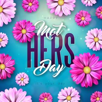 파란색 배경에 꽃과 타이 포 그래피 문자로 해피 어머니의 날 인사말 카드 디자인. 배너, 전단지, 초대장, 브로셔, 포스터 축하 일러스트 템플릿입니다.
