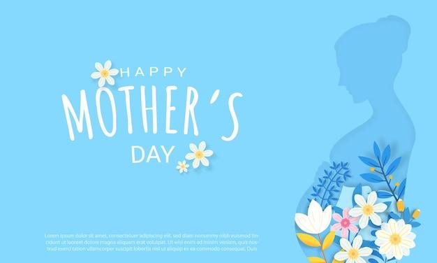 青い背景に花とタイポグラフィの手紙と幸せな母の日のグリーティングカードのデザイン。お祝い