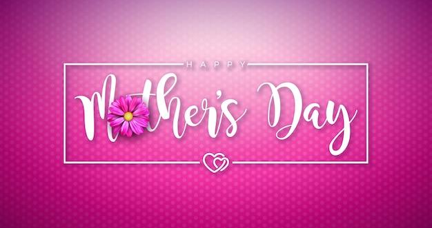 幸せな母の日グリーティングカードデザインピンクの背景に花とタイポグラフィの手紙。バナー、チラシ、招待状、パンフレット、ポスターのお祝いイラストテンプレート。