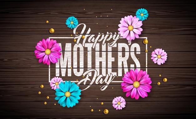 花とヴィンテージのウッドの背景にタイポグラフィの手紙と幸せな母の日のグリーティングカードのデザイン。バナー、チラシ、招待状、パンフレット、ポスターのお祝いイラストテンプレート。
