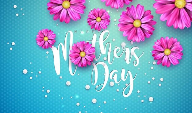 꽃과 타이포그래피 편지와 함께 해피 어머니의 날 인사말 카드 디자인