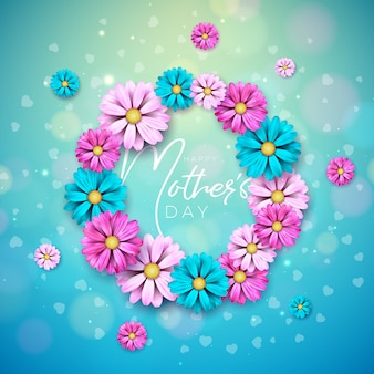 Happy mother's day greeting card design with flower and typography letter on blue background.
